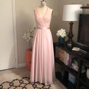 Chiffon Halter Bridesmaid Dress w Tulle Bow